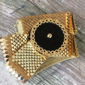 Gold tone snake scale metal stretch black enamel